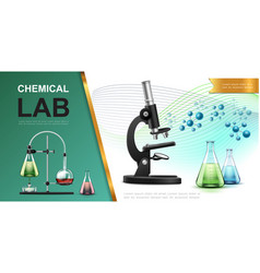 realistic laboratory chemical research template vector image