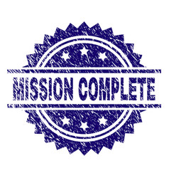 Scratched textured mission complete stamp seal vector