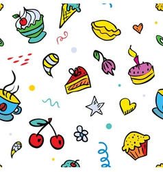 seamless background with sweets vector image