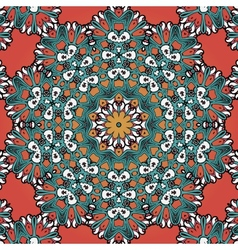 Seamless mandala on red background Vintage tribal vector image