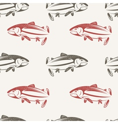 seamless pattern on subject fishing vector image