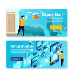 set banner templates with drone delivery vector image