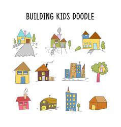 set element building kid doodle set house vector image