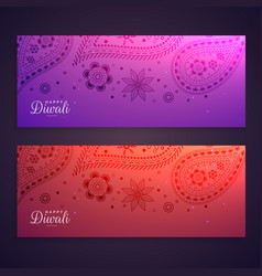 Set of colorful happy diwali banners vector