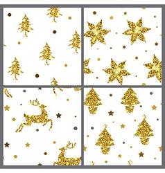 Set of golden glitter seamless patterns vector