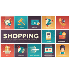 shopping - modern flat design icons set vector image
