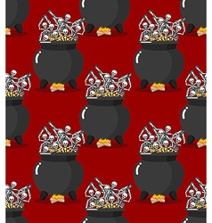 Sinners in pot in Hell seamless pattern Skeletons vector image