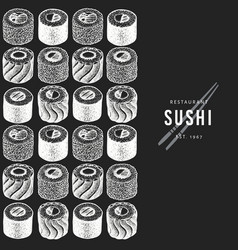 Sushi design template hand drawn on chalk board vector
