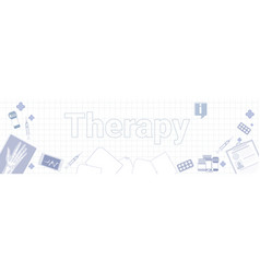 teraphy medicine banner on squared notebook paper vector image