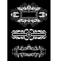Three old white frame with curls and ribbons vector image