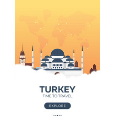turkey istanbul time to travel travel poster vector image
