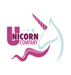 unicorn company logo with white mythical horse vector image