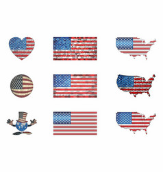 Usa flags set vector
