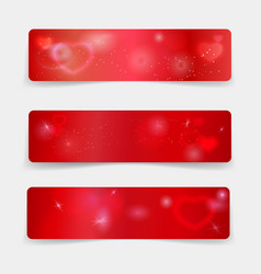 Valentine day banner template with hearts and vector