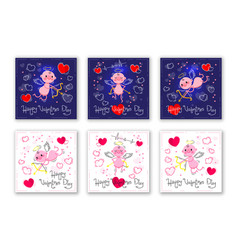 valentines day cards with cute cupids and hearts vector image