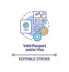 valid passport and visa concept icon vector image