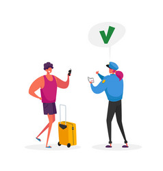 Visa approval and traveling passport control vector