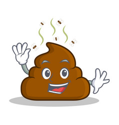waving poop emoticon character cartoon vector image