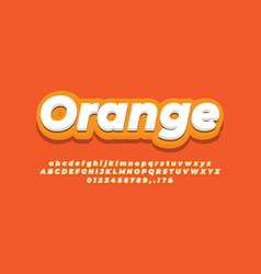 White and orange 3d modern alphabet or letter vector