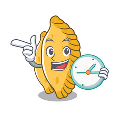With clock pastel character cartoon style vector