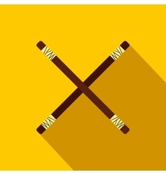 Wooden sword bokken flat icon vector image