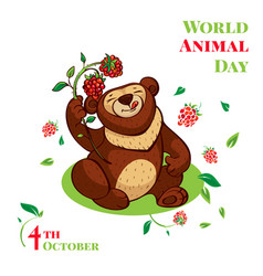 world animal day cute bear concept background vector image
