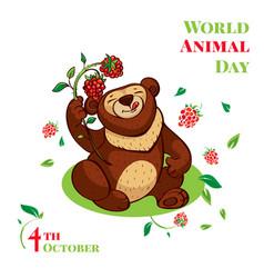 World animal day cute bear concept background vector