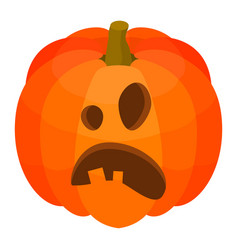 Wow pumpkin face icon isometric style vector