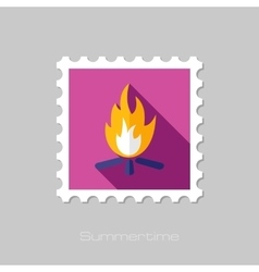 Bonfire flat stamp with long shadow vector image vector image
