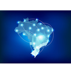 Brazil country map polygonal with spot lights vector image vector image
