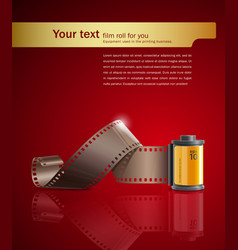 Camera film roll on red background vector image vector image