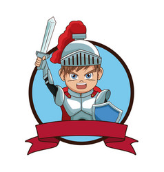medieval warrior videogame character cartoon vector image