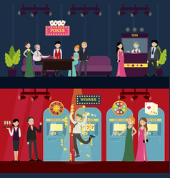 people in casino horizontal banners vector image
