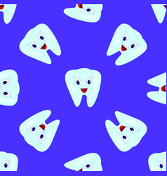 Seamless pattern with teeth on a blue vector