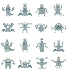 Set of flat moster icons vector image vector image