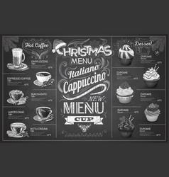 vintage chalk drawing christmas coffe menu design vector image vector image