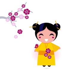 asia girl kimono vector image