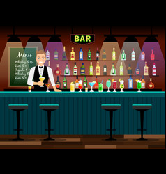 bar counter with bartender vector image vector image