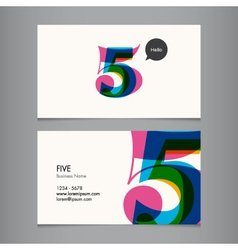 business card with number 5 vector image vector image