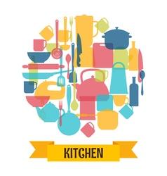 Cooking utensils background Kitchen and restaurant vector image vector image