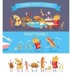 Funny Fast Food Cartoon vector image