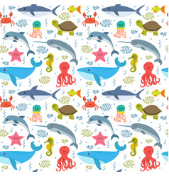 seamless pattern with cartoon sea life animals vector image