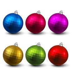 Set of textured realistic christmas balls vector image