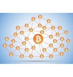 Bitcoin cloud net vector image
