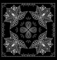 black and white abstract bandana print with vector image vector image