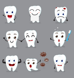 Cute tooth cartoon collection set vector