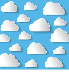 Many White Clouds On Blue Background vector image vector image