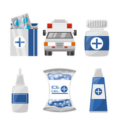set medical first aid kit to pharmacy urgency vector image
