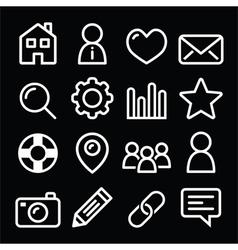 Website menu navigation line icons - home search vector image
