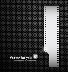 Camera film roll silver background vector image vector image